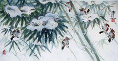 6 Birds in Snowy Bamboo, Darlene Kaplan