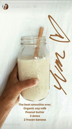 Almond Milk, Banana, Oatmeal Breakfast Smoothie Almond Banana breakfast Milk Oatmeal peanutbutter Smoothie is part of Healthy recipes - Good Smoothies, Healthy Breakfast Smoothies, Smoothie Drinks, Banana Breakfast, Yummy Drinks, Healthy Drinks, Yummy Food, Healthy Recipes, Tasty