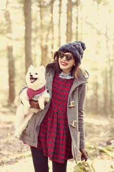 Outfit Details: Topshop coat and hat asos dress Vivetta hands collar vintage gloves vintage Coach...