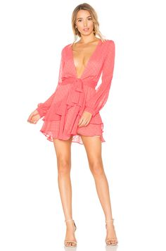For Love & Lemons Tarta Long Sleeve Mini Dress in Flamingo