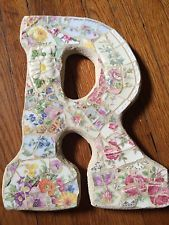 """VIntage Chic China Mosaic  Floral Wall French Shabby Mary P Mosaics Letter """"R"""""""