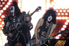 ALL MADE UP: Gene Simmons, left, and Paul Stanley of the band Kiss performed at River Plate Stadium in Buenos Aires. (Alejandro Pagni/Agence France-Presse/Getty Images)