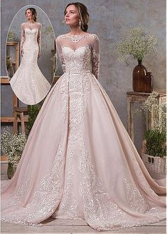 [218.40] Elegant Tulle & Organza Bateau Neckline Natural Waistline 2 In 1 Wedding Dress With Lace Appliques & Beadings & Detachable Skirt - dressilyme.com