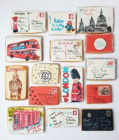 Hand painted London themed cookies for a Dazzle and Fizz party. Cookie Designs, Fun Cookies, Rock And Roll, Hand Painted, London, Instagram Posts, Happy, Geography, Cooking