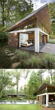 Container House - CONTAINERS: Tiny modern guest house and pool (Dunway Enterprises) clickbank. Who Else Wants Simple Step-By-Step Plans To Design And Build A Container Home From Scratch? Modern Tiny House, Tiny House Design, Modern House Design, Tiny Guest House, Prefab Guest House, Modern Small House Design, Guest Houses, Big Pools, Swimming Pools