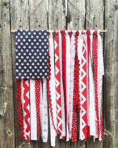 American Flag Rag Tie Wall Hanging                                                                                                                                                                                 More