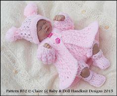 "Chain Stitch Matinee Coat Set 7-12"" Doll-knitting pattern, doll, reborn"