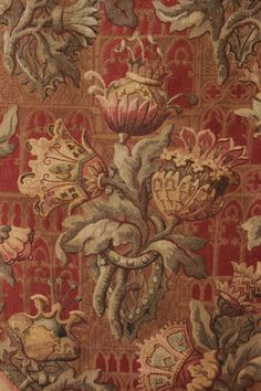 Rare Gothic Revival printed Fabric ~ French, c1850 from France ~ Spectacularly printed ~ stunning design ~ Arts and Crafts elements , perhaps before it's time! ~