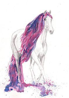 Fancy Horse Art Watercolor   Print 8x11 Animal Horse  by mallalu