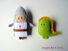 Knight & Dragon little felt patches.