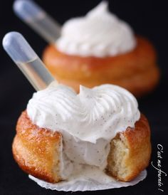 Rum Baba with Whipped Vanilla Ivory. (These are individual-sized. Italian Desserts, Just Desserts, Delicious Desserts, Dessert Recipes, Yummy Food, French Desserts, Chefs, Gourmet Cooking, British Baking