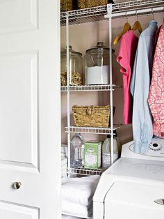Maximize storage in these small spaces! More storage solutions here: http://www.bhg.com/rooms/laundry-room/storage/laundry-room-storage-solutions/?socsrc=bhgpin062814slimdown&page=14