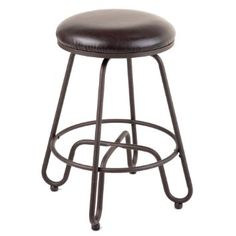 Fashion Bed Group C1M016 Denver Metal Counter Stool with Backless Brown Upholstered Swivel-Seat and Umber Metal Frame Finish, 26-Inch