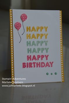 Stampin Adventures, Marlieke Smetsers. Alle materialen van Stampin' Up! en via mij te bestellen. It's my Party washitape, It's my Party Enamel Dots, Party Wishes stempelset, Inktpads Crushed Curry / Melon Mambo / Mint Macaron, Party Punch Pack, Wink of Stella Glitterbrush