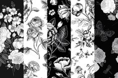 Check out Set of vintage floral pattern B & W by olga.korneeva on Creative Market