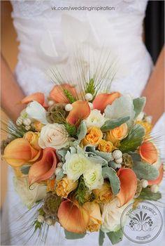 Orange flowers for a Fall wedding.