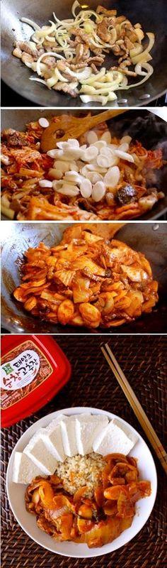 Fast Dubu Kimchi, Kimchi Tofu with Pork Belly