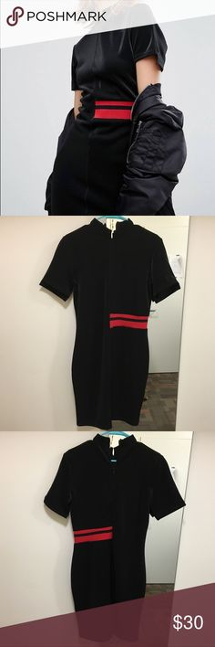 Cheap Monday Side Stripe Dress Glossy black dress, looks great with leggings and sneakers! In near perfect shape, only was worn a handful of times. Cheap Monday Dresses Midi