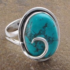 BLUE TURQUOISE HANDMADE 925 SOLID STERLING SILVER 6.57g RING JEWELLERY R01311 #Handmade #GEMSTONERING