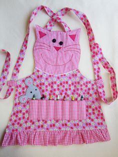 aprons   Kids Crayon Apron - PINK CAT, Cooking Apron, Garden Apron - Fully ...