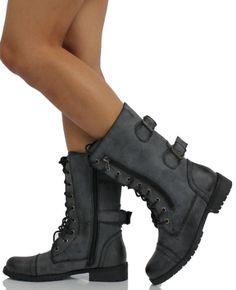 Amazon.com: Black Distressed Combat Lace-Up Riding Mid-Calf Boot Nature Breeze Lug 12: Shoes