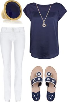 "Not a fan of the sandals but the rest, yes please!  ""navy jack rogers"" by bardentaylor on Polyvore"