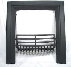 Antique Art Deco Cast Iron Coal Fireplace Door Frame Surround U0026 Whale Bone  Grate