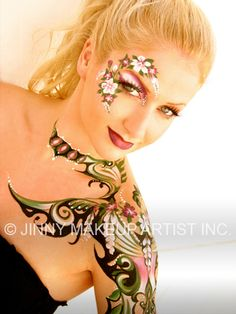 Creative floral themed face and body art accented with clear gems by Jinny Makeup Artist Inc.