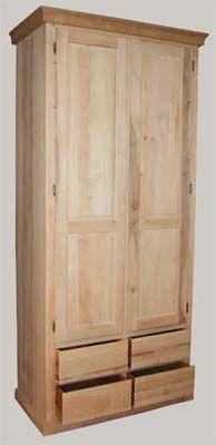 JUVIn Isoisänvaatekaappi, 2 ovea ja 4 laatikkoa, 100x52x232
