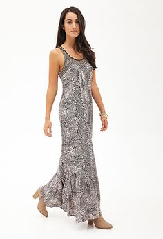 1b1a4d25bc Abstract Print Beaded Maxi Dress