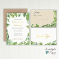 We are loving these vibrant, botanical, tropical wedding stationery with a hint of faux gold foil! Featuring an abundance of watercolored green palm leaves, accented with modern gold fonts. It works no matter what your tropical destination is. #wedding #tropicalwedding #stationery #tropical #palmleave #watercolor #goldfoil #invitation #printable #stationeryset #weddingstationery #craftpaper #bridetobride #bridetobe #weddingideas #weddingplanning #weddinginspiration #destinationwedding