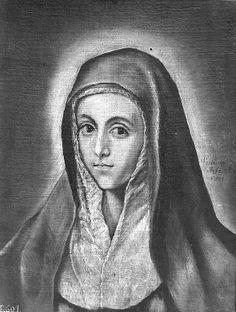 """Representación de la Virgen como """"Mater Dolorosa"""", con rostro aniñado y esbozando una sonrisa ante un fondo neutro con un halo luminoso. http://aleph.csic.es/F?func=find-c&ccl_term=SYS%3D000100183&local_base=ARCHIVOS"""