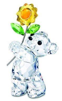 Swarovski Kris Bear with Sunflower. Swarovski Crystal Figurine.