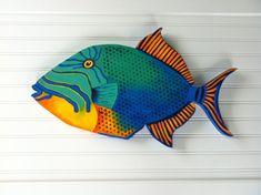 "Queen Trigger Fish 19"" hand painted wooden fish beach art home decor wall art saltwater fish"