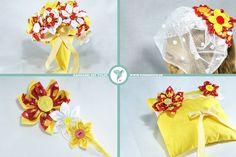 """Set """"Tulpe"""" www.yournique.de #yournique #Brautstrauss #Ringkissen #Ringschale #Herrenanstecker #Reversschmuck #Fascinator #Haarschmuck #Kanzashi #Handmade #Hochzeit #BrautstraussFürDieEwigkeit #Stoffblüte #Stoffblume #Braut #Bräutigam #Brautpaar #wedding  #Products"""