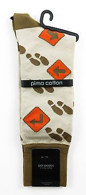 Men's PER PEDES Direct Your Step Khaki Tan Mercerized Cotton Socks NWT $32