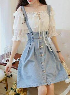 Korean Fashion Dress, Korean Street Fashion, Ulzzang Fashion, Korean Outfits, Asian Fashion, Kawaii Fashion, Cute Fashion, Look Fashion, Teen Fashion Outfits