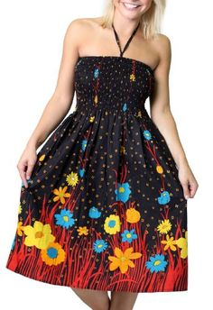 c9a1cb4457 One-size-fits-most Tube Dress Coverup - Flower Garden Black at Amazon  Women s Clothing store