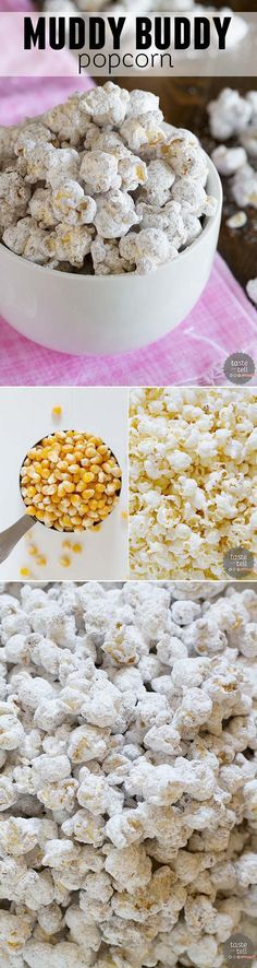 You can never go wrong with the chocolate and peanut butter combination - and this Muddy Buddy Popcorn is just what you need! - Tap the pin for the most adorable pawtastic fur baby apparel! You'll love the dog clothes and cat clothes! Just Desserts, Delicious Desserts, Yummy Food, Tasty, Snack Recipes, Dessert Recipes, Cooking Recipes, Smoothie Recipes, Yummy Treats