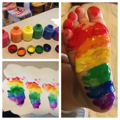 Infant Rainbow Art!! Great touch project excellent sensory to wet, and cold