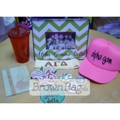 Alpha Gamma Delta Bid Day packages available in stores or online today! Bid Day Gifts, Alpha Gamma, Online Gifts, Packaging, Future, Future Tense, Wrapping
