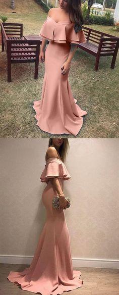 Pink Off Shoulder Ruffles Mermaid Satin Prom Dresses Long Evening Dresses on Luulla Cheap Mermaid Prom Dresses, Prom Dresses 2018, Prom Dresses Online, Evening Dresses, Girls Dresses, Inexpensive Wedding Dresses, Affordable Bridesmaid Dresses, Knee Length Dresses, Simple Dresses