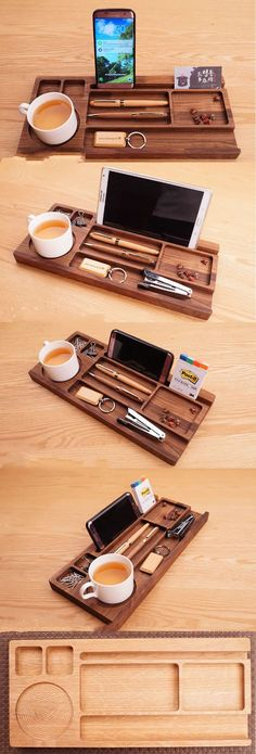 by SilaWood Black Walnut Wooden Office Desk Stationery Organizer Tray Pen Pencil Holder Stand iPhone iPad Smart Phone Holder Dock Business Card Display Stand Holder Memo Holder Paper Clip Holder Collection Office Desk Supplies Stationary Organizer Diy Stationery Organizer, Stationary Organization, Desk Stationery, Office Organization, Desk Drawer Organisation, Wooden Desk Organizer, Office Desk Supplies, Wood Office Desk, Wood Desk