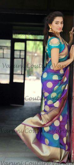 Pattu Saree Blouse Designs, Saree Blouse Patterns, Simple Blouse Designs, Stylish Blouse Design, Saree Styles, Blouse Styles, Blouse Models, Elegant Saree, Saree Dress