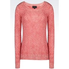 Emporio Armani Crewneck ($255) ❤ liked on Polyvore featuring tops, sweaters, brick red, red cashmere sweater, cashmere sweater, lightweight sweaters, long sleeve tops and red top