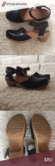 Dansko Maisie Clogs Black leather Dansko mary-janes in great condition. Cushioned leather footbed. Adjustable ankle straps. Size 38, but fit an 8 perfectly. Super comfy! Re-poshing because theyre just not really my style. I only wore them once. Dansko Shoes Mules & Clogs