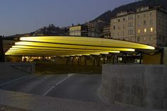Tensairity structure. The inflatable lightweight load-bearing structure Tensairity could be soon fitted with a self-repairing coating of moulded foam from Rampf. The picture shows the roof of a multi-storey car park in Montreux, Switzerland, which was built by the companies Airlight and Luscher Architectes using Tensairity beams in 2004.