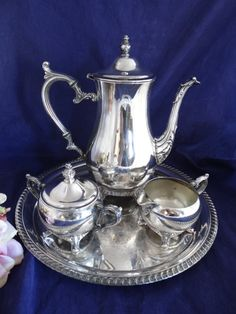 Vintage Gorgeous Four Piece Silver Plate Coffee Set with Tray- Classic Elegance on Etsy, $74.50
