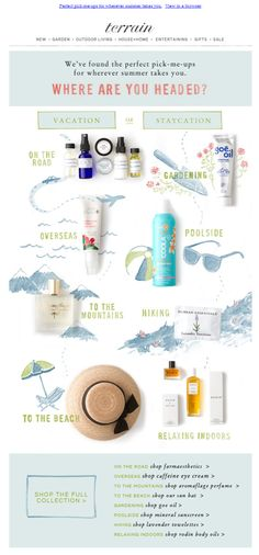 Love the layout and design of this email. The use of product photography and illustrations create a very fun and playful email. Newsletter Layout, Email Layout, Email Newsletter Design, Email Newsletters, Web Layout, Layout Design, Beauty Newsletter Ideas, Web Design, Media Design