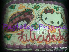 Pastel para cumpleaños de Rosita fresita y Hello Kitty